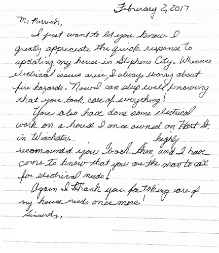 R David Parrish Winchester Electrician Testimonial